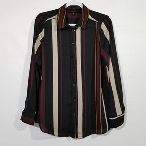 Who What Wear Striped Button Up Top Size Medium